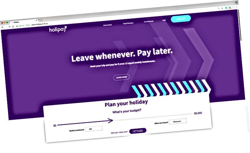 Домашня сторінка веб-сайту Holipay