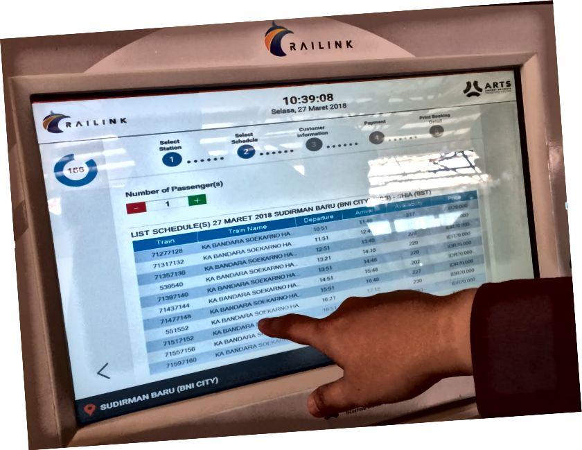 Biletleme makinesi ekranı