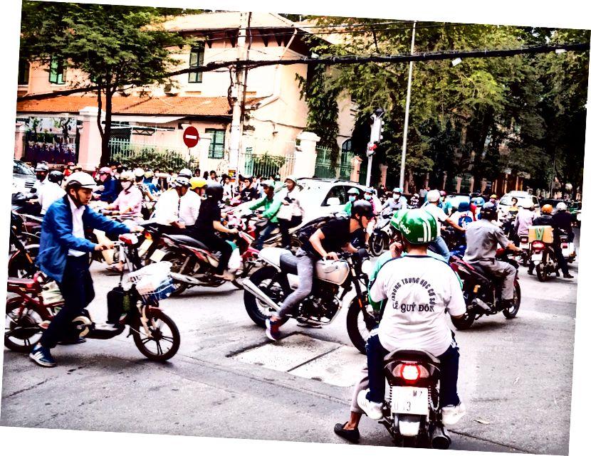 Ho Chi Minh City'deki mopedler yaygındır