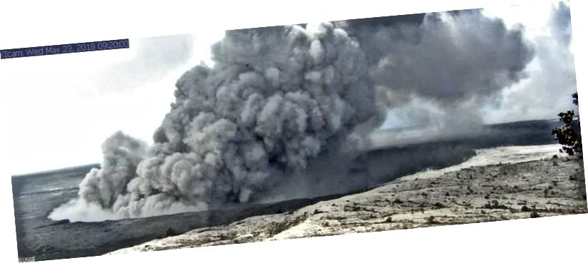 Це зображення - із дослідницької камери, встановленої в оглядовій башті на Гавайській обсерваторії вулканів. Камера дивиться на SSE до активного отвору в Халемаумау, в 1,9 км (1,2 милі) від веб-камери. (USGS / HVO / Kīlauea Caldera, зі спостережної вежі HVO)