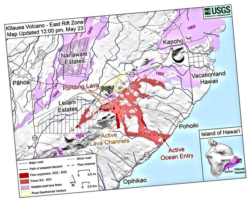 Карта станом на 12:00 вечора за 23:00 за північним віком, на головній карті світло-фіолетові області вказують на течії лави, вивернуті у 1840, 1955, 1960 та 2014–2015 роках. На карті вставки (праворуч внизу) темно-фіолетова область позначає місця Східної рифтової зони вулкана Кілауеа. (USGS / HVO)