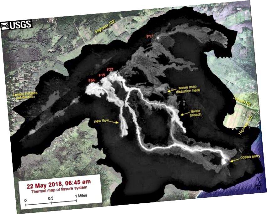 Ця теплова карта показує систему тріщин і лаву тече станом на 06:45 ранку у вівторок, 22 травня. Основний потік лави походить від Фіссури 22, але за останній день з області Фіссури 6 був активний новий потік. (USGS / HVO / Digital Globe)