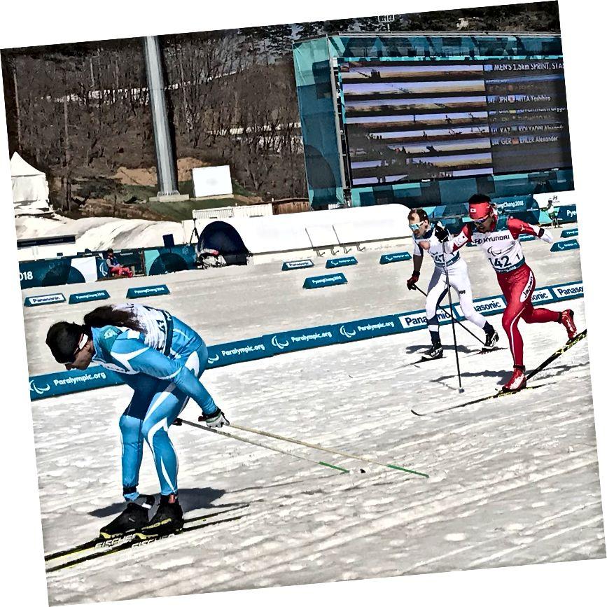 Erkekler 1.5 km Sprint, Kros, Ayakta - Altın: Alexandr Kolyadin, Kazakistan; Gümüş: Yoshihiro Nitta, Japonya; Bronz: Ilkka Tuomisto, Finlandiya (Mark Arendz, Kanada ile bağlanan - gösterilmiyor)