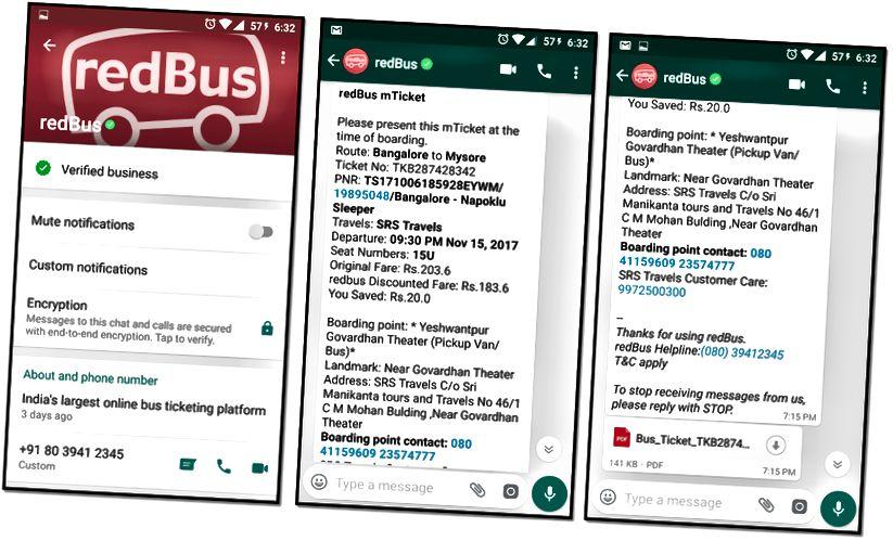 WhatsApp'a Gönderilen Örnek Rezervasyon Bilet Mesajı