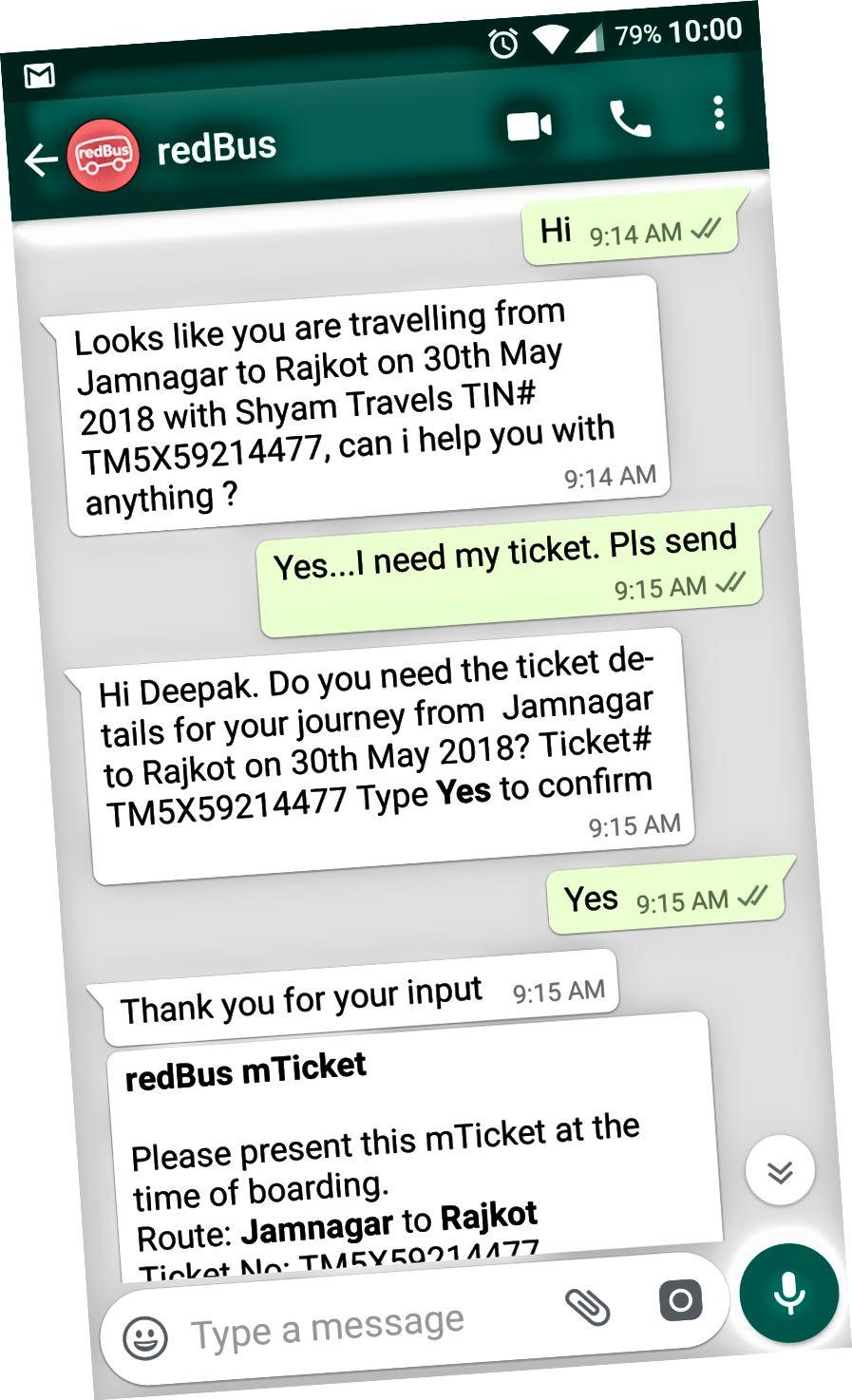 WhatsApp Bot Kullanıcının Bilet Ayrıntıları Sorgusunu Yanıtlıyor