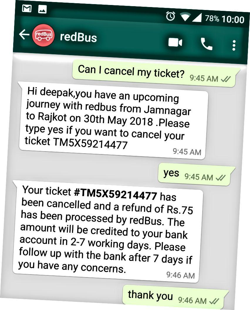 WhatsApp Bot Kullanıcının Bilet İptal Talebine Cevap Veriyor