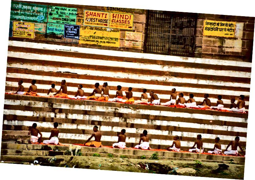 Saṇskrit-studenter sitter i en rad, foto © Erika Burkhalter