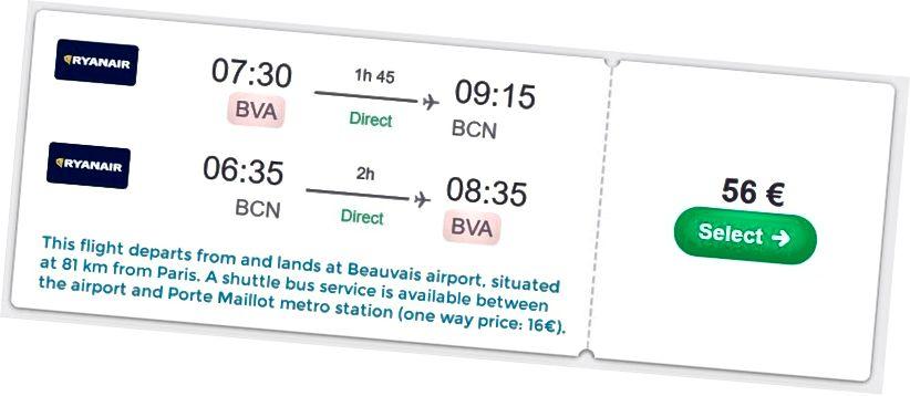 Приклад повідомлення про додаткові час та витрати на політ з / в аеропорт.