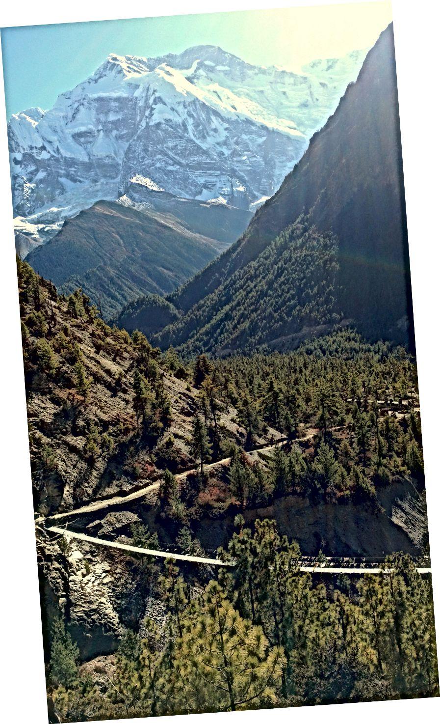 (Kiri) Pisang Bawah seperti yang terlihat dari Pisang Atas | (Kanan) Annapurna II terlihat dari bawah ke atas saat naik ke desa lumpur tinggi Ghyaru