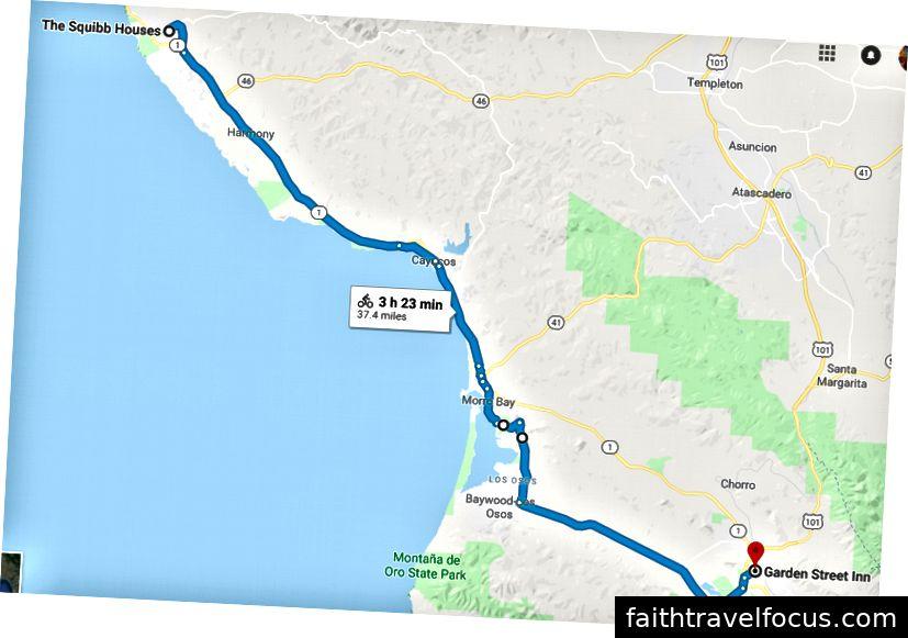 Tuyến đường: Quốc lộ 1 → thoát khỏi Cayucos → Quốc lộ 1 → thoát khỏi Vịnh Morro → Công viên bang Morro Bay → S Bay Blvd → Los Osos Valley Rd → Higuera St