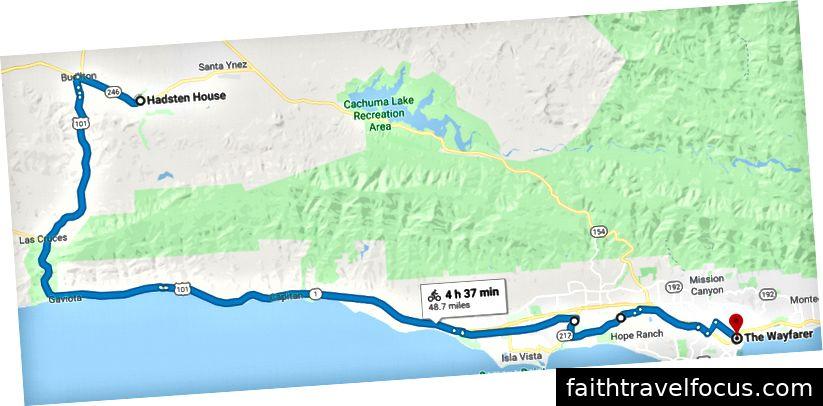 Tuyến đường: 246 → Đại lộ cờ → Quốc lộ 101 → Đại lộ Hollister → Modoc → Nhiệm vụ → San Pascual → W Micheltorena → State St