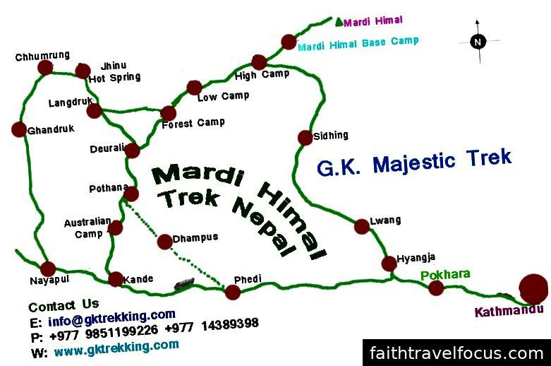 Chúng tôi đã đi từ Kathmandu đến Pokhara bằng xe buýt. Sau đó từ Pokhara trên đường đến Phedi để bắt đầu chuyến đi của chúng tôi.