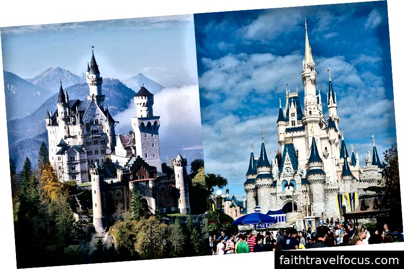 Trái: Điều thật. Phải: Lâu đài Disney Cinderella Cinderella.