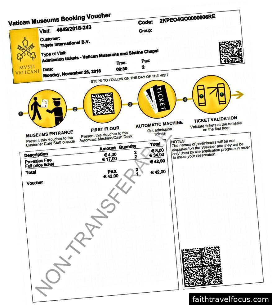 Ví dụ về phiếu đặt phòng mà khách hàng Tiqets nhận được sau khi thanh toán