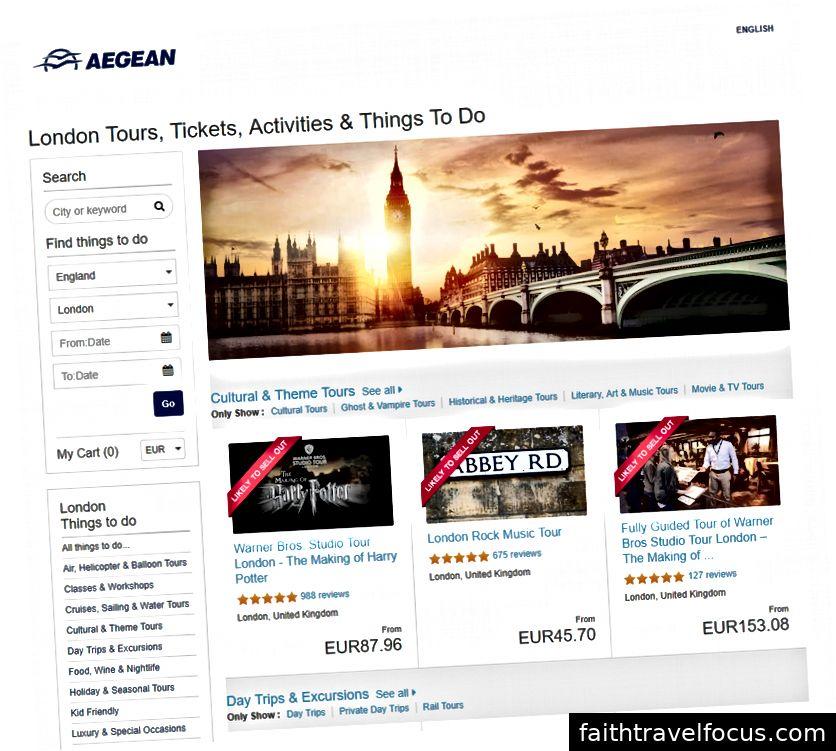 Lựa chọn giải trí tại London cho khách hàng Aegean Airline. Nguồn: Hãng hàng không Aegean