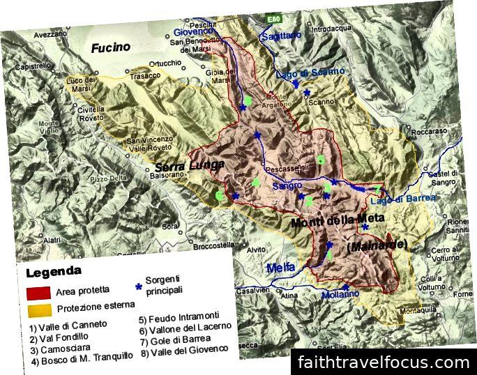Vị trí của Parco Nationale dơiAbruzzo (màu đỏ) với vùng đệm bao quanh (màu vàng).