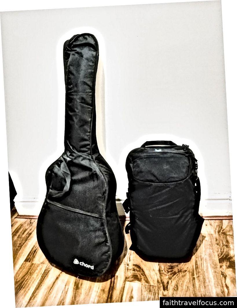 Cây đàn guitar của tôi và mọi thứ khác mà tôi sở hữu được đóng gói vào ba lô Minaal