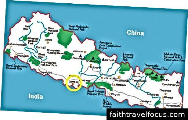 Lumbini được khoanh tròn màu vàng trên bản đồ này.