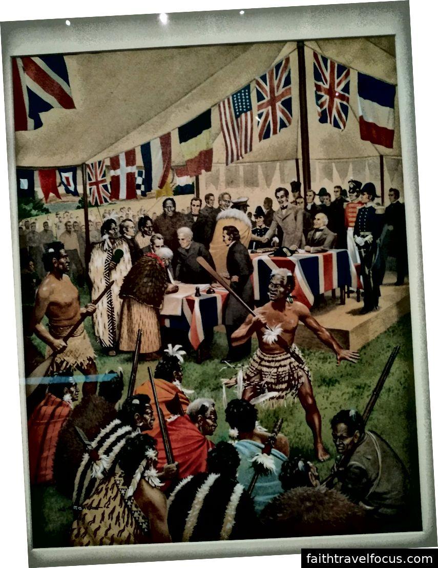 Bức tranh mô tả việc ký kết hiệp ước trong một cái lều