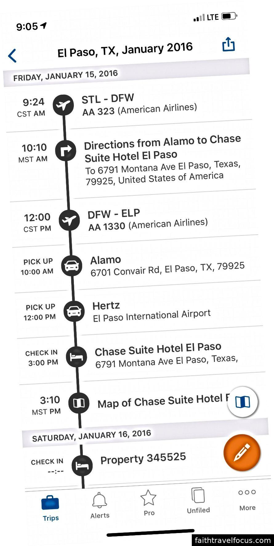 Tôi đã sử dụng TripIt để tổ chức chuyến đi hơn 10 người tới El Paso, TX và Las Cruces, NM cho sinh nhật lần thứ 30 của tôi.