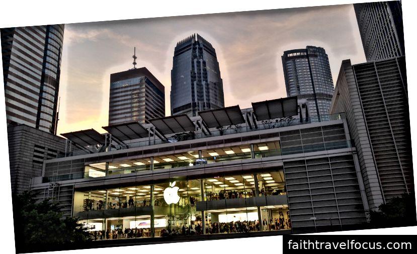 Cửa hàng Apple từ lối đi chính Trung tâm.