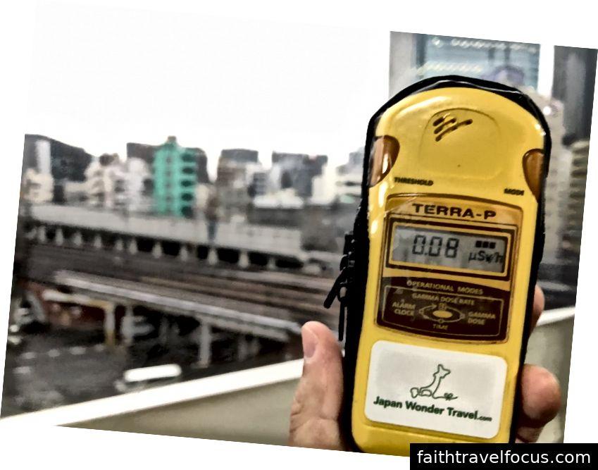 Theo quầy Geiger, 0,08 microsievert / h ở Tokyo