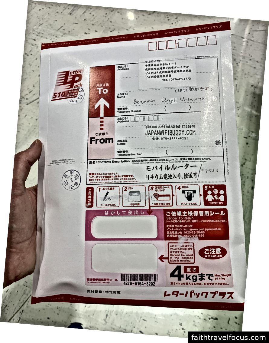 Bưu kiện WiFi Buddy Nhật Bản đang chờ tôi tại bưu điện sân bay Narita (vâng tên đệm của tôi là Daryl và không, tôi không biết tại sao cha mẹ tôi lại chọn nó. Sống lại từ DaryL cổ điển 1985 Sci Fi)