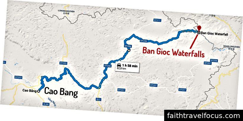 Bản đồ tuyến đường từ thị trấn Cao Bằng đến thác Bản Giốc.