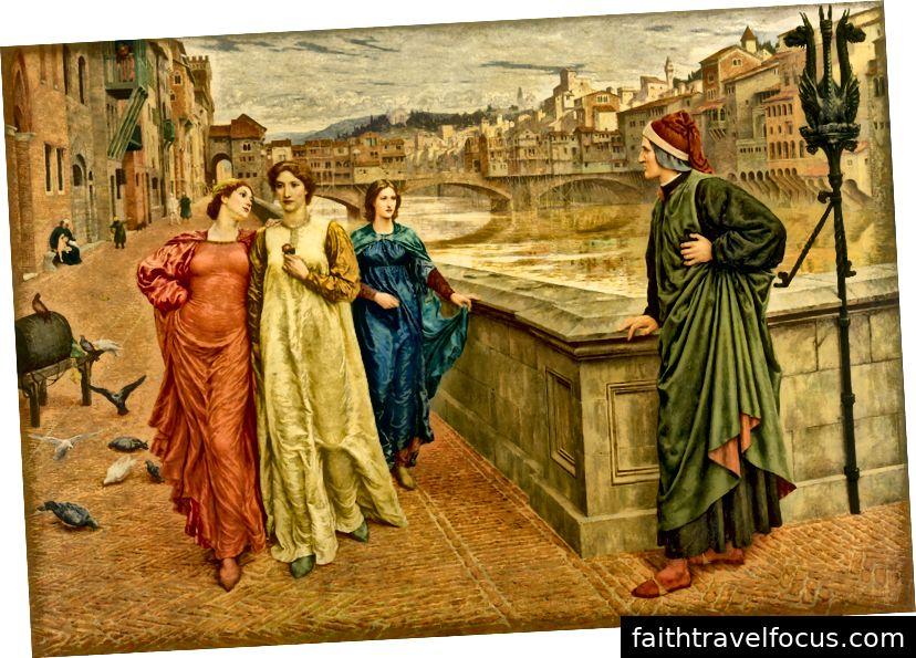 Voi Dante và Beatrice, một bức tranh của Henry Holiday. Hình ảnh lịch sự của WikiMedia và Dự án Nghệ thuật Google.