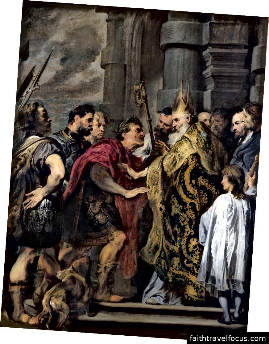 Saint Ambrose đã chặn Theodosius, một bức tranh bên trong Nhà thờ Milan của Anthony van Dyck, được tạo ra từ năm 1619 đến 1620. Hình ảnh lịch sự WikiMedia.
