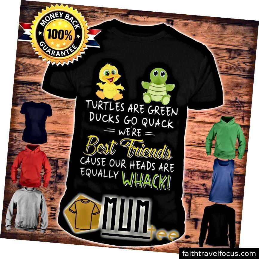 Rùa là những chú vịt màu xanh lá cây Quack là những người bạn tốt nhất bởi vì đầu của chúng tôi là áo sơ mi trắng