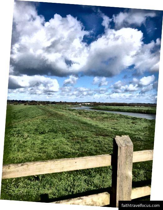 Một cái nhìn qua hàng rào gỗ của River Parrett uốn lượn trên đường bằng phẳng của cánh đồng xanh Somerset Levels trong ánh nắng mùa xuân