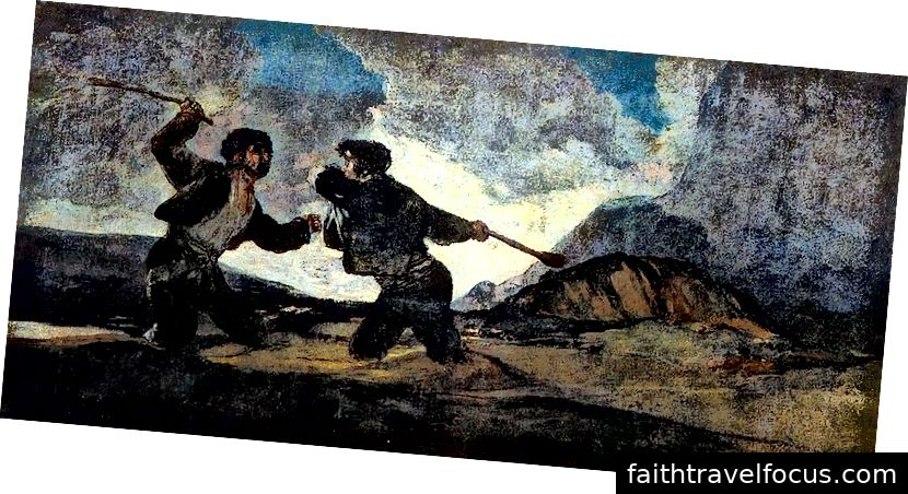 Riña a garrotazos (bởi Goya - nguồn: Wikiepedia - PD)