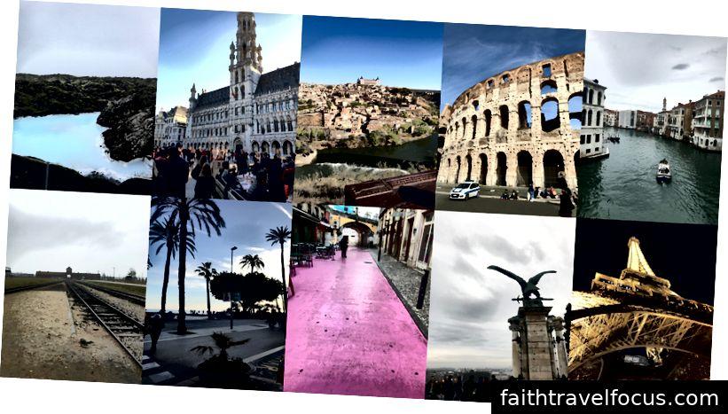 Trái sang phải rồi từ trên xuống dưới: Grindavík, Brussels, Toledo, Rome, Venice, Auschwitz, Stiges, Lisbon, Budapest, Paris