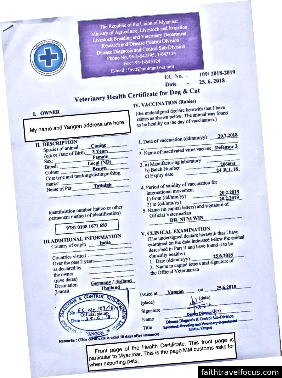 Bài viết hoàn thành. Một giấy phép xuất khẩu của Myanmar.