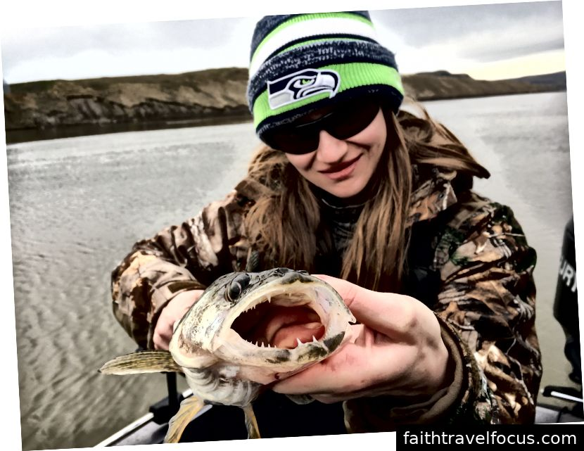 Ashley Caldwell bắt một con Walleye tại hồ Snake ở bang Washington.