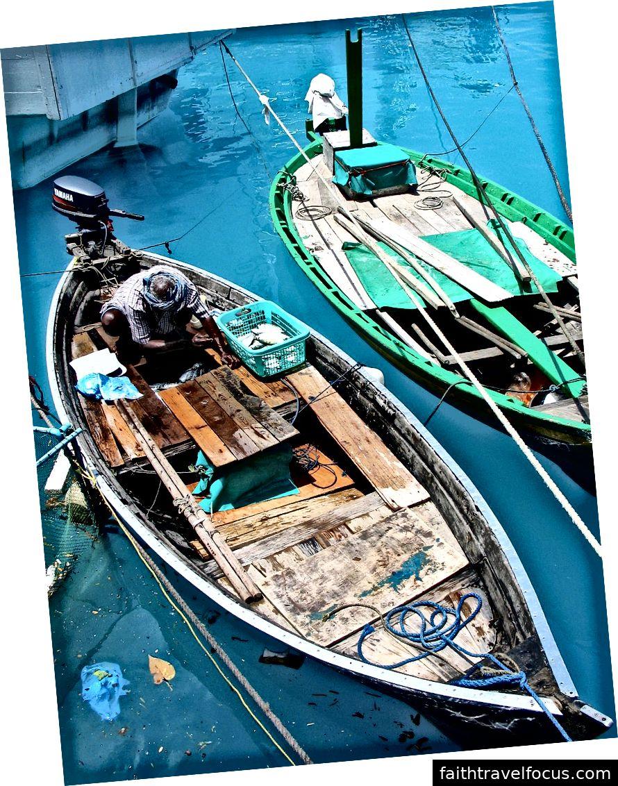 Kalastus Malediiveilla   Kuvaluotto: Ulko- ja kauppaministeriö, kalastusalukset. Malediivit 2005. Photo-AusAID (10695262086), CC BY 2.0