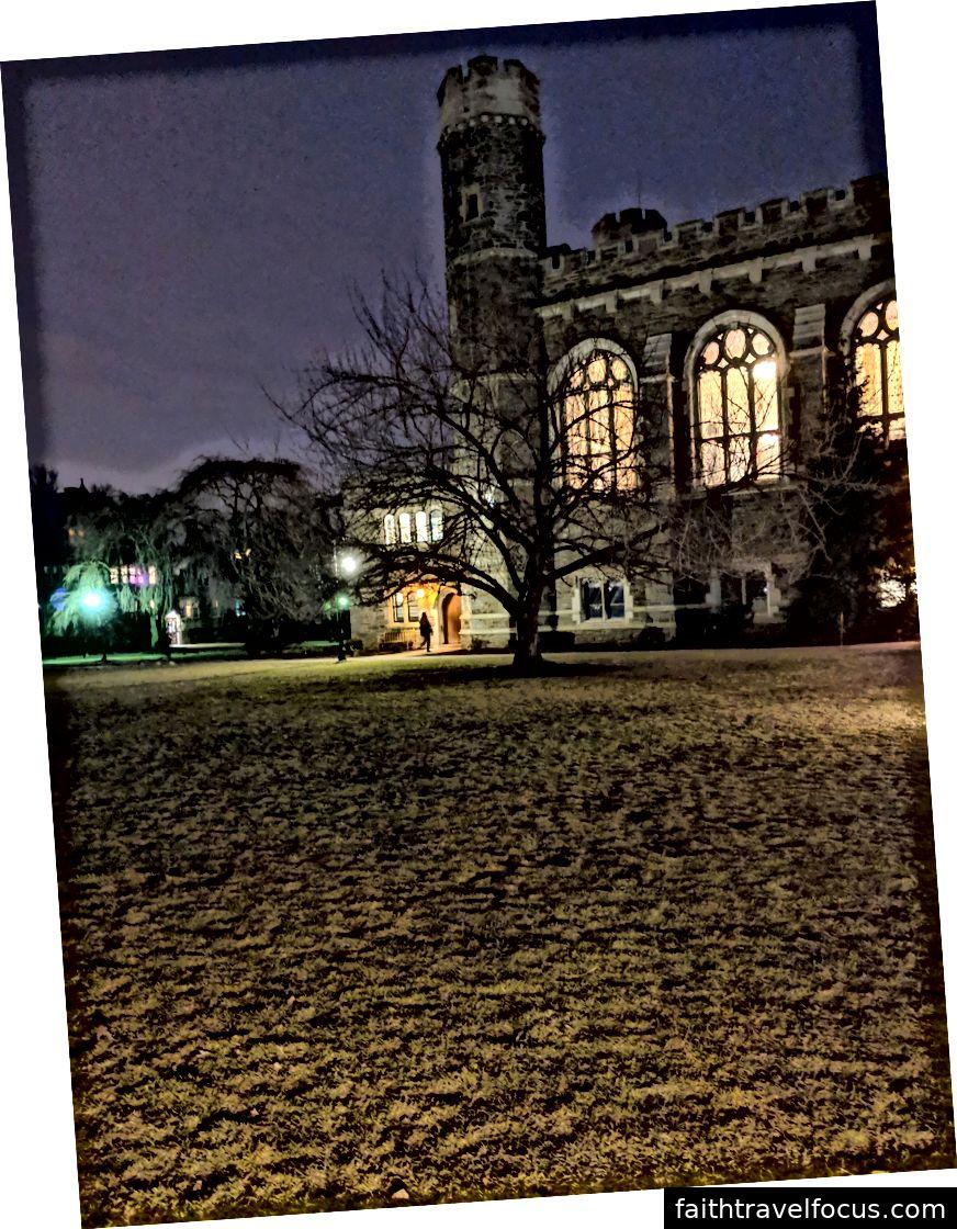 Hình ảnh hoa anh đào bên ngoài trường đại học lúc 6:30 chiều. Tuần 3, 25/2/2019