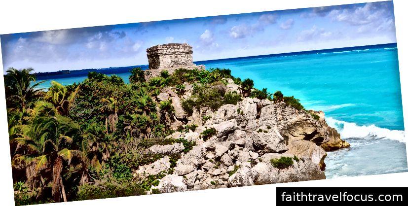 Tulum Mayastadtruinen in Riviera Maya in den Karibischen Meeren von Maya Mexiko