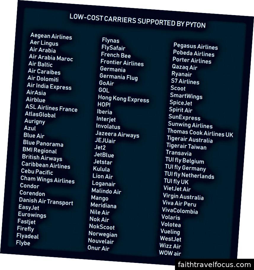 Pyton tarafından desteklenen düşük maliyetli havayollarının sayısı oldukça fazla
