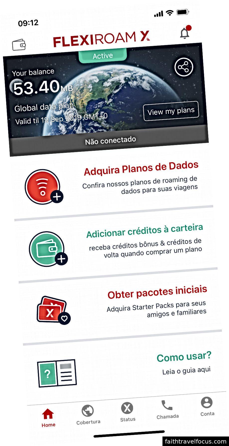 İPhone XS Max'ta çalışan Flexiroam X uygulaması