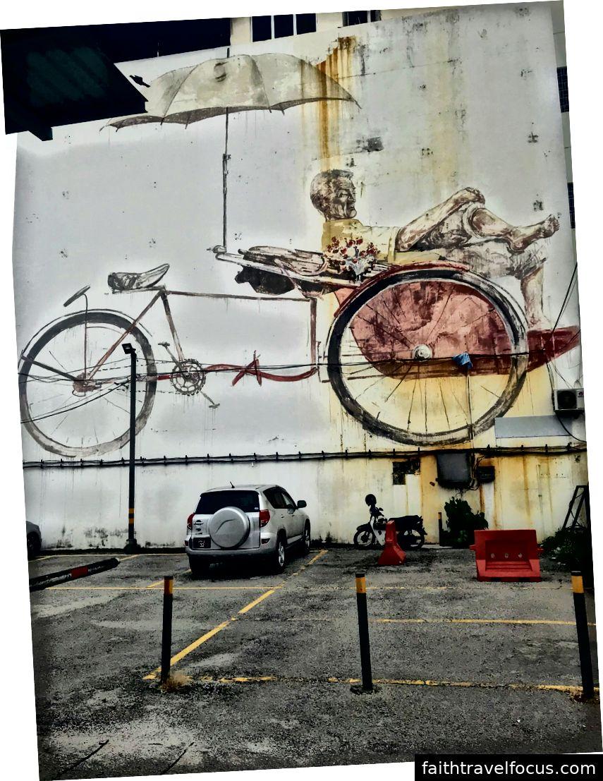 Den avvaktande trishaw peddler. Konst av Ernest Zacharevic