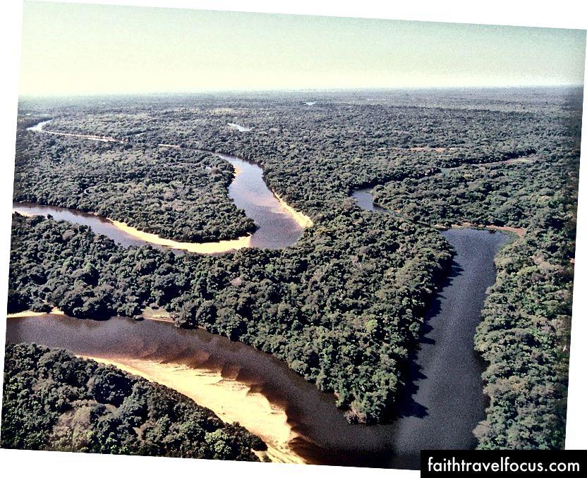 Một cảnh trên không của Pantanal với Rio Negro uốn khúc qua nó.