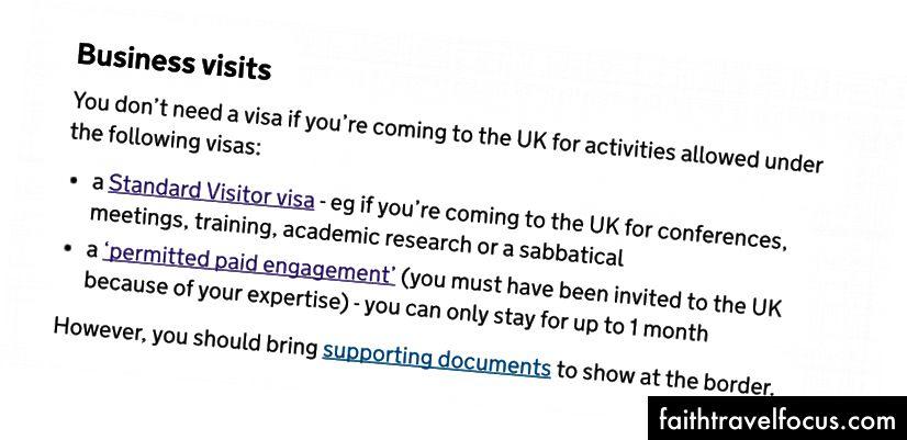 Z vlády. Vzhľadom na moju tému (webová animácia) a povahu udalosti to vyzeralo, akoby som sa chystal na povolenie platenej zákazky, a v tejto dokumentácii nebolo nič, čo by hovorilo o tom, že spoločnosť musí pochádzať zo Spojeného kráľovstva. V tom čase som o tom nepremýšľal. Aktualizácia: Tím gov.uk rýchlo aktualizoval túto stránku po tom, ako bol tento príspevok zverejnený, aby bol v tomto bode jasnejší, hoci jemnejšie podrobnosti sú stále k dispozícii na interpretáciu. Aj keď by to bolo užitočné vedieť, musím zdôrazniť, že v spätnom pohľade bola táto webová stránka nespoľahlivým orgánom. Mali by ste sa obrátiť na radu skutočného právnika v oblasti prisťahovalectva.