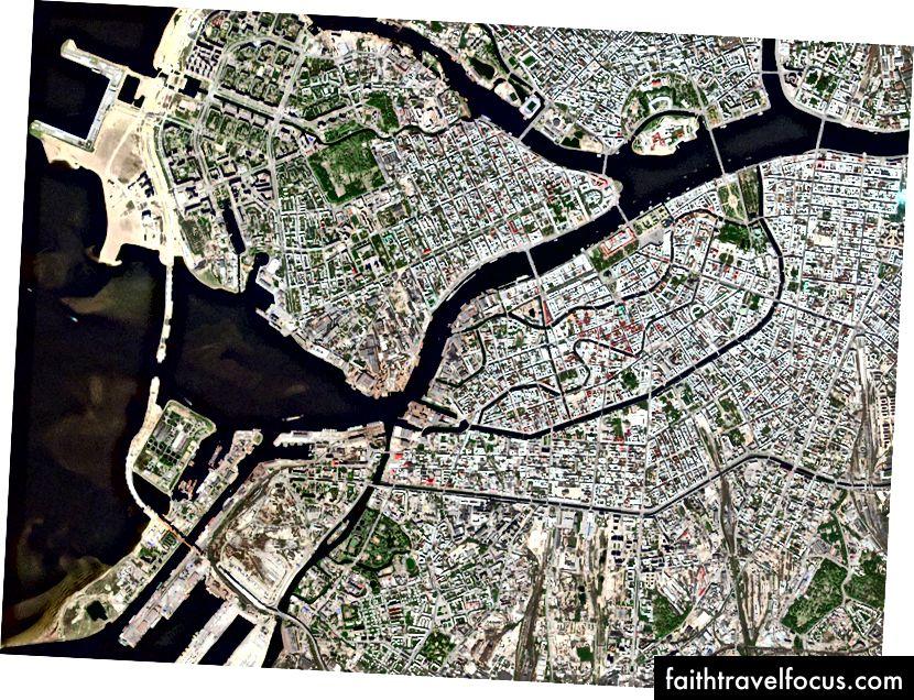 Россия, Санкт-Петербург. Захвачено 6 мая 2016 года. Изображения RapidEye © 2016 Planet Labs, Inc. cc-by-sa 4.0.