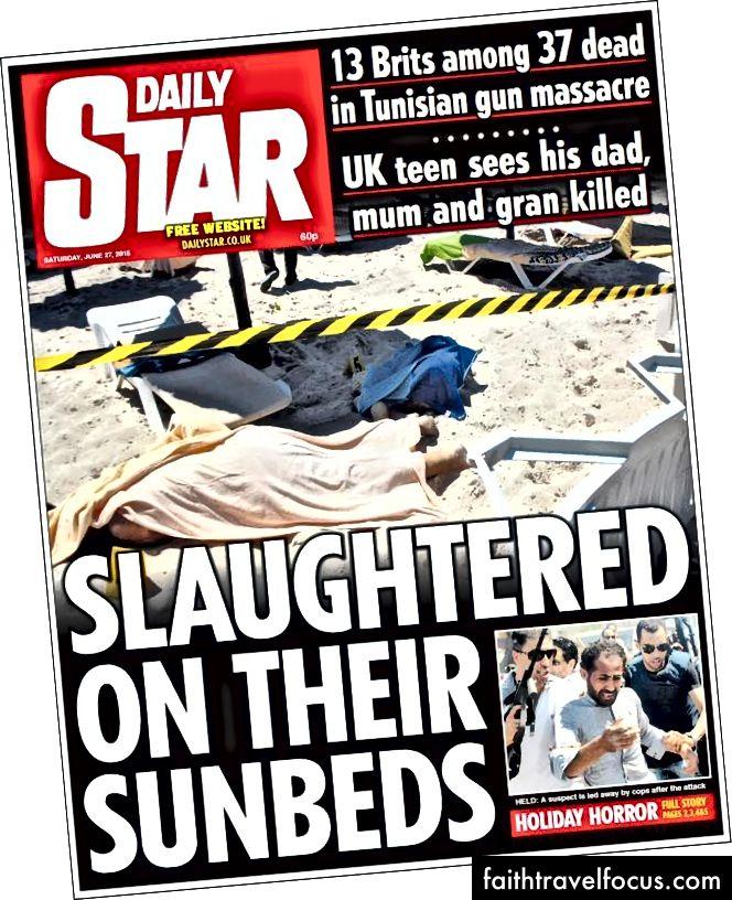 As primeiras páginas do jornal britânico no dia seguinte ao massacre de 38 turistas em Sousse, na Tunísia.