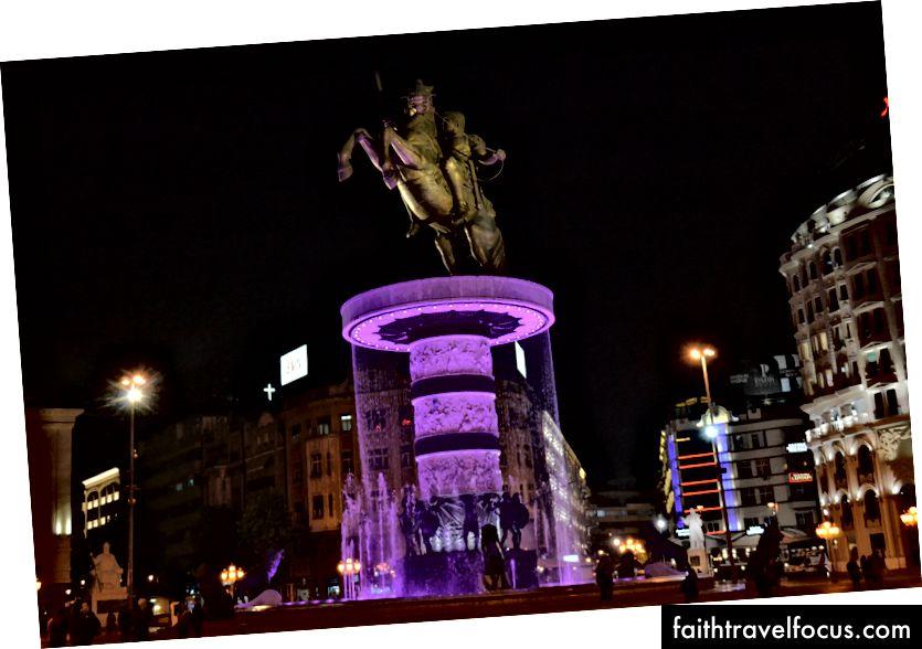 Tượng Alexander Đại đế, người bảo vệ Skopje và anh hùng dân tộc