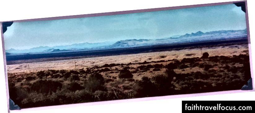 Вид від спуску національного лісу Гіла до Лордсбурга, Нью-Мексико в листопаді 1996 року
