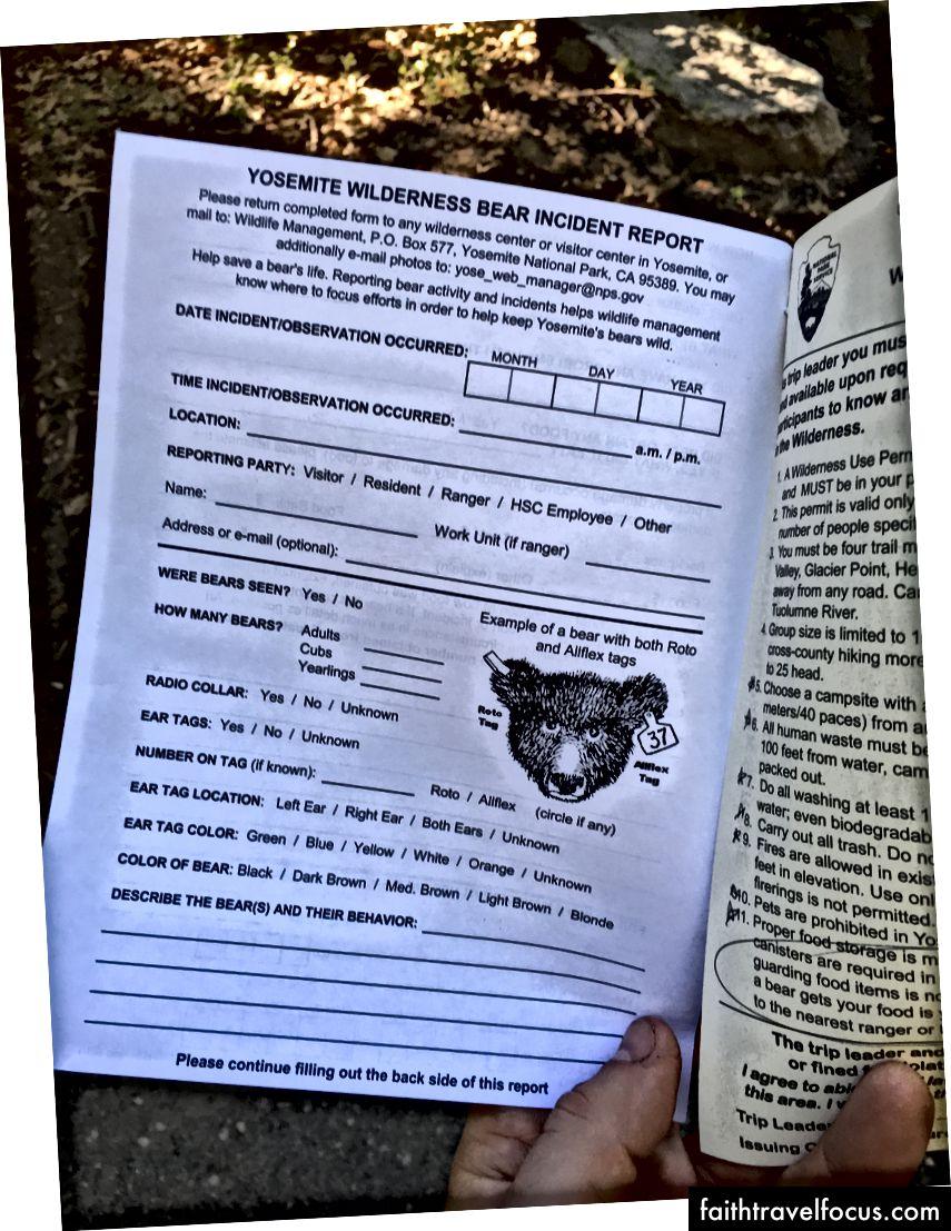 Đây là Báo cáo về sự cố của Gấu Gấu, kiểm lâm viên chào mừng đã đưa cho tôi. Lưu ý rằng tôi phải lấy số biển số xe của anh ấy.