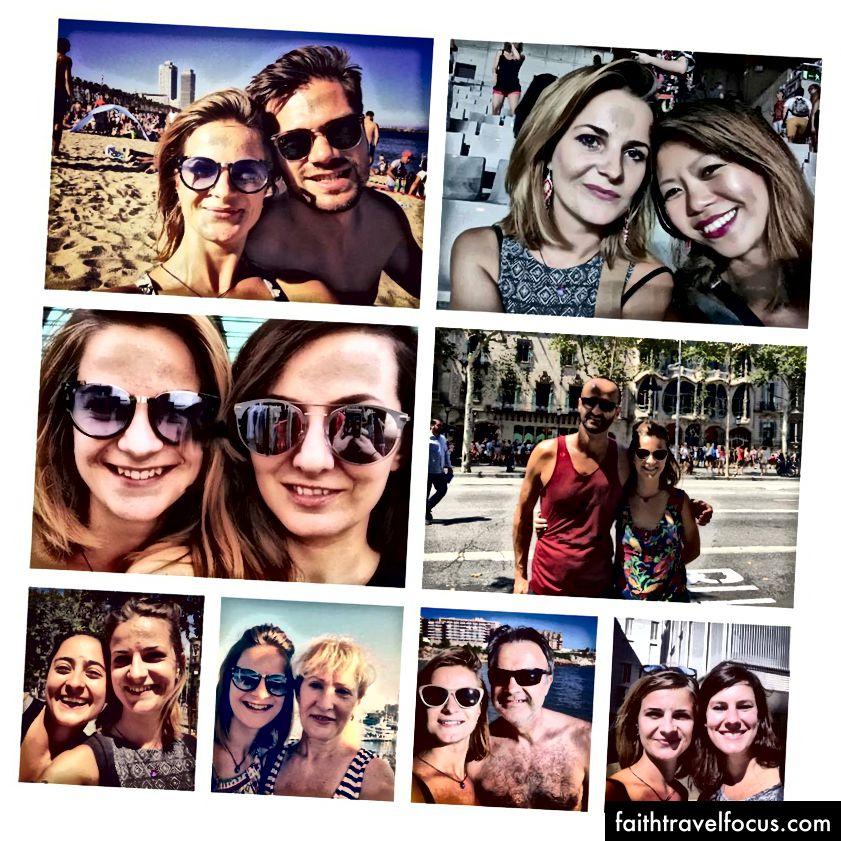 Top 9 của selfies với bạn bè và gia đình ở Barcelona.